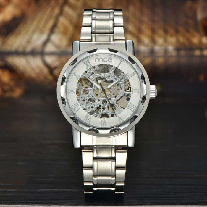 MCE Hollow-Out Steel Analog Full-Automatic Mechanical Watch - Silver