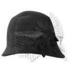 Fashionable Elegant Women's Woolen Cloche Hat - Black