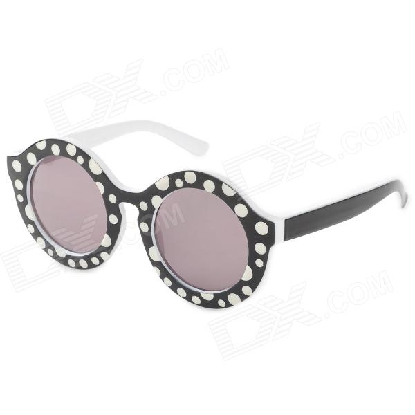 Fashionable Dots Pattern Round Lens UV400 Protection Women's Sunglasses - White + Black