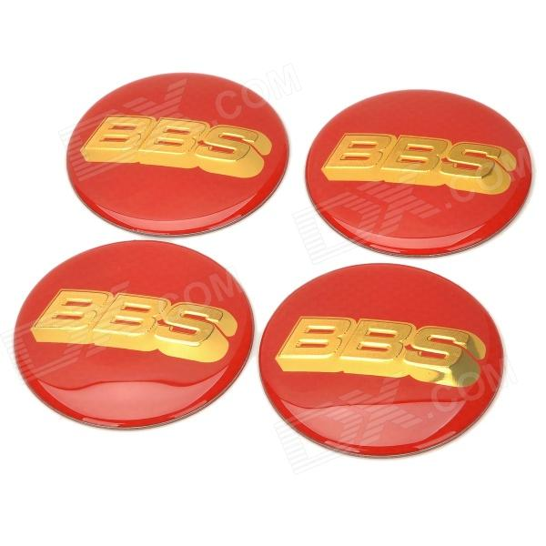 Universal PVC Decorative Wheel Stickers for Car - Red + Golden (4 PCS) universal car air intake decorative stickers silver pair