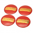 Universal PVC Decorative Wheel Stickers for Car - Red + Golden (4 PCS)