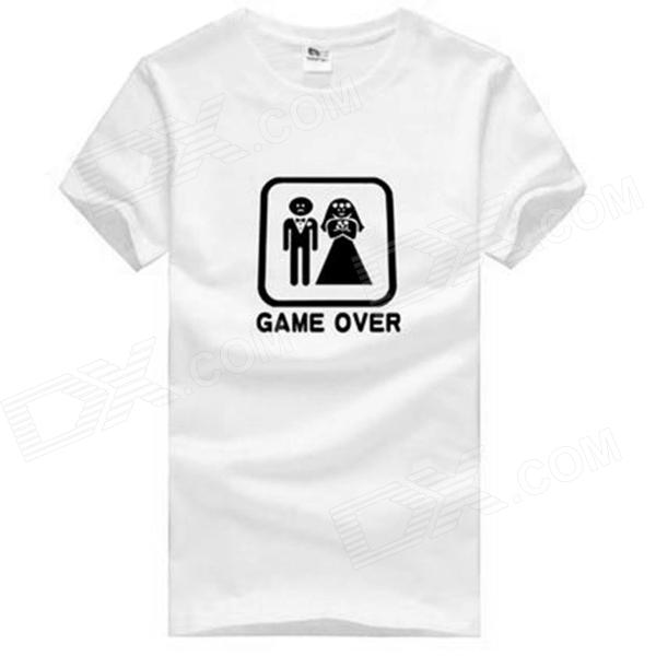 Game Over Pattern Cotton Short Sleeves T-Shirt for Men - White (Size XXXL) creative pattern pure cotton short sleeve t shirt for men grey size s