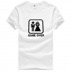 Game Over Pattern Cotton Short Sleeves T-Shirt for Men - White (Size XXXL)