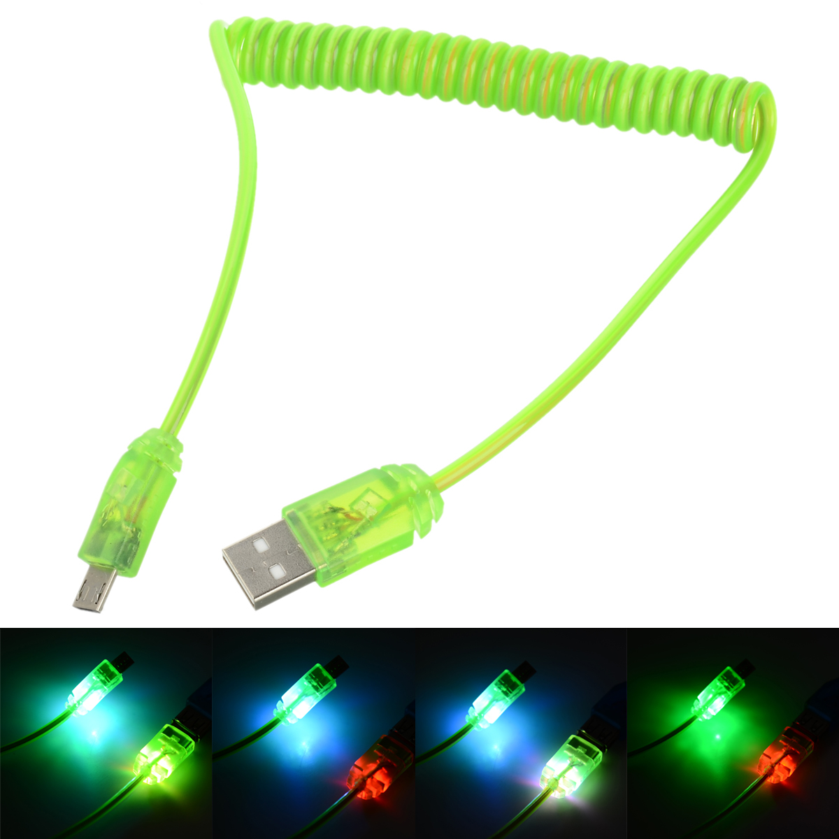 Lighting USB to Micro USB Spring Charging / Data Cable - Green (40cm)
