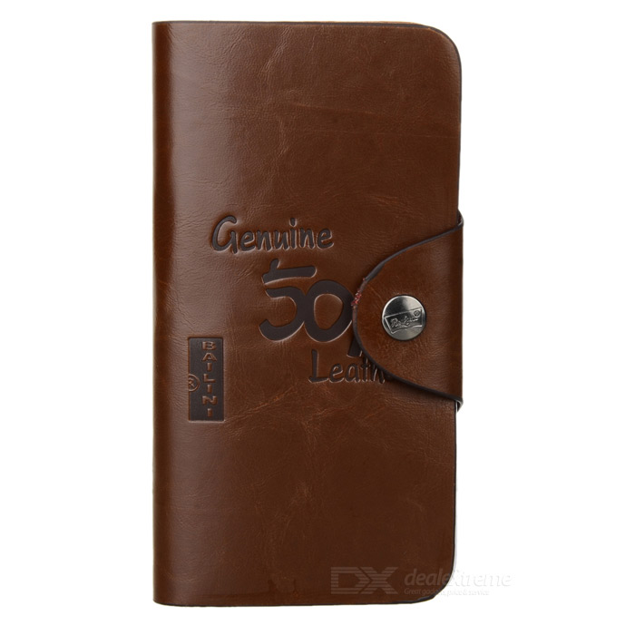 Fashionable Men's Leather Long Wallet w/ Multiple Card Slots - Coffee