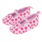 Cute Round Dot & Little Star Baby Shoes - Pink + Deep Pink (3~6 Months / Pair)