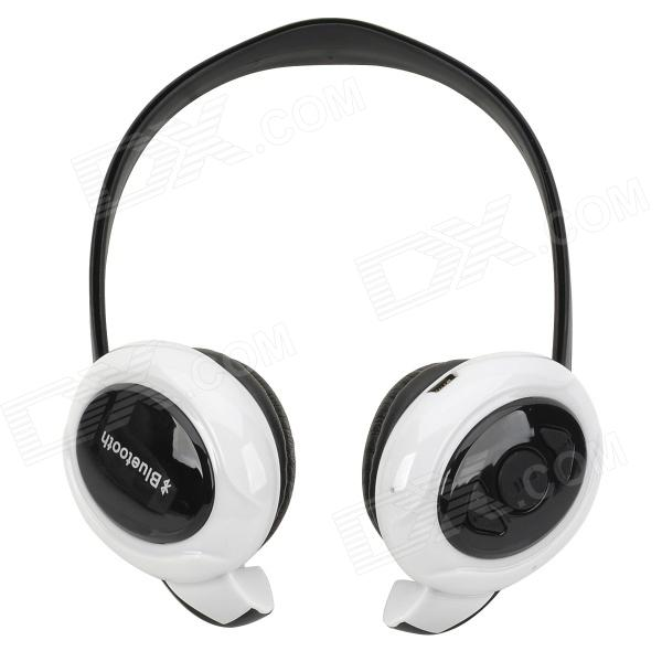 Qiyin BT-968 Bluetooth V3.0+EDR Wireless Stereo Headphone - White + Black qiyin bt 990 stylish bluetooth v3 0 edr wireless stereo headset w microphone black silver