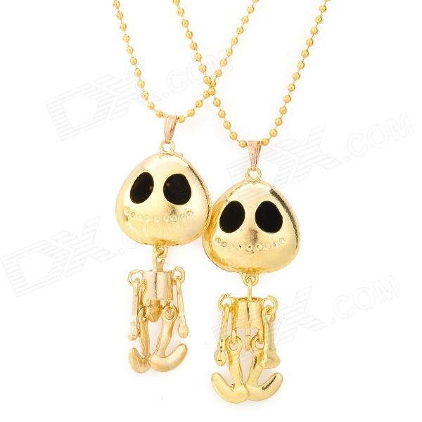 Alien Style Couple's Gift Gold-Plated Pendant Necklaces - Golden + Black (2 PCS) цена