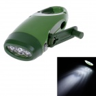 RW-1064 Hand-Crank Rechargeable 3-LED 50000mcd White Flashlight w/ Compass - Army Green