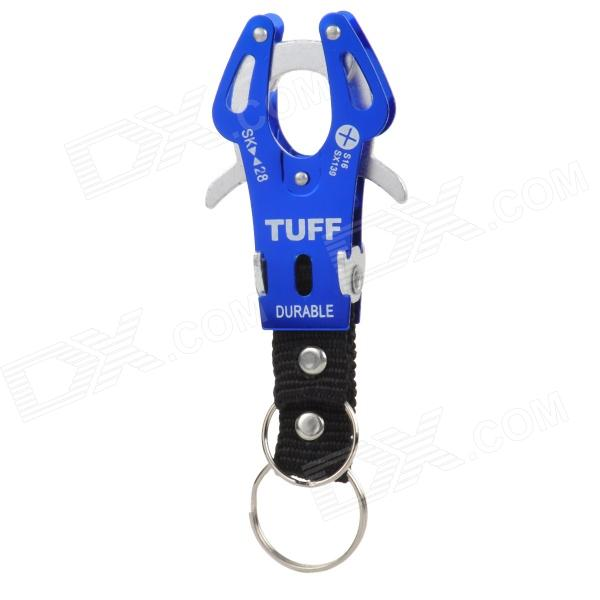 Camping & Hiking Aluminum Alloy Carabiner Hook Clip w/ Key Ring - Blue + Silver + Black ryder anodizing aluminum alloy screw lock carabiner blue 7mm