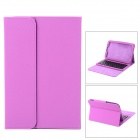 Protective PU + ABS Case w/ Stand + Wireless Bluetooth 59-key Keyboard for Samsung N5100 - Purple