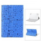 "Cute Cartoon Style Protective PU Leather Case for 7"" Tablet PC - Blue + Black"