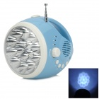 Hand-Crank Rechargeable 15-LED Flashlight w/ Radio / Mobile Phone Charger / Alarmer - Blue + White