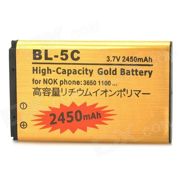 BL-5C-GD 3.7V 2450mAh Li-ion Battery for Nokia 1100, 1101, 1100, 1108, 1160 + More - Golden nokia 3110 classic