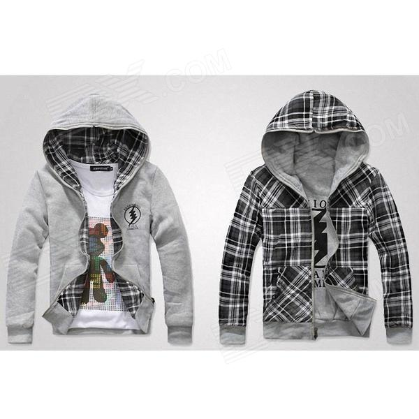 Both Sides Men's Hooded Jacket - Black + Grey (Size-L)
