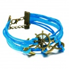eQute BLEW1C5 Steering Wheel Ship Anchor Infinity Braided String Bracelet - Blue + Bronze