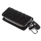 PU Leather Ostrich Texture Zipper Car Key Holder Case Bag - Black
