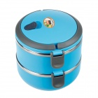 JIEMINGXING Double Layer Heat Insulation Lunch Box - Blue + Grey (1.4L)