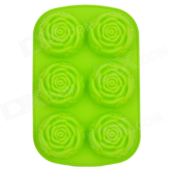 DIY 6-Cup Silicone Rose Shape Cake / Chocolate Tray Mould - Green diy silicone 11 cup fruit style chocolates ice tray mould yellow