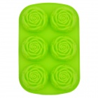 DIY 6-Cup Silicone Rose Shape Cake / Chocolate Tray Mould - Green