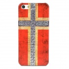 Norway Flag Pattern w/ Crystals Protective Plastic Back Case for Iphone 5 - Red + Silver + Khaki