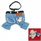 Pet Dog Suspender Trousers - Blue + Black + White (Size M)