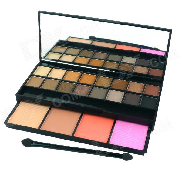 Professional Cosmetic Makeup 20-Color Eye Shadow Palette w/ Mirror - Multicolored bob cosmetic makeup powder w puff mirror ivory white 02