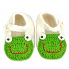 Cute Frog Pattern Baby Shoes - Green + White (Pair)