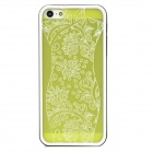 Chinese Dress Pattern Protective Plastic Case for Iphone 5 - Black + White + Fluorescent Yellow