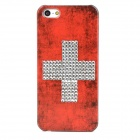Switzerland Flag Style Protective Rhinestone + Plastic Back Case for Iphone 5 - Red + Silver + Black