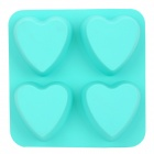GEL63001 DIY 4-Cup Silicone Heart Shape Cake / Ice Tray Mould - Green