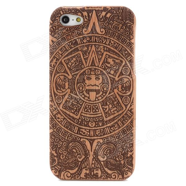Mayan Calendar Pattern Protective Sapele Wood Back Case for Iphone 5 - Brown + Black
