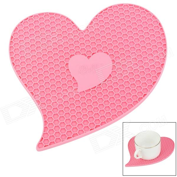 GEL0728011 Heart Shaped Anti-slip Heat Insulation Mat / Pad for Dishware / Cup - Pink unique disk style silicone heat insulation cup pads blue black 2 pcs