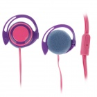 Trendy Ear Hook Stereo Earphones - Purple + Pink (3.5mm Plug / 120cm-Cable)