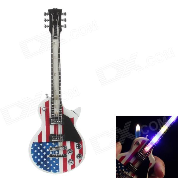 Guitar Style LED Light Gasoline Lighter - White + Red + Blue + Black (3 x LR626)