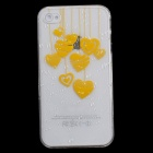 Cute Heart-Shape Pattern Protective PC Back Case for Iphone 4 / 4S - Yellow + Transparent