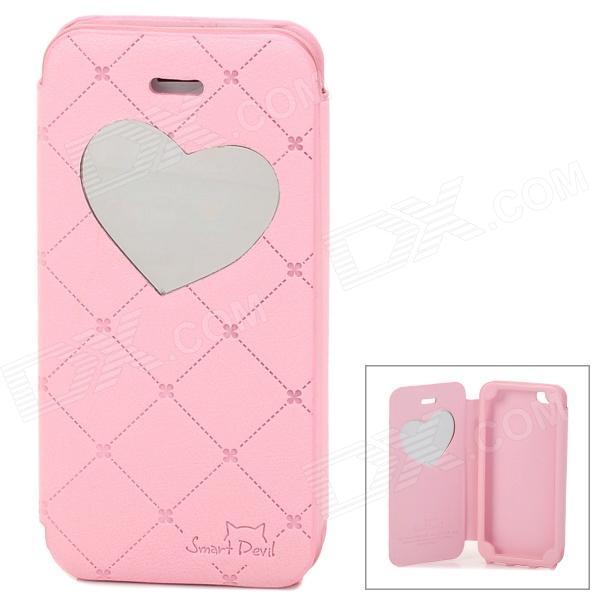 Neomeos Love Heart Mirror Style Protective PU Leather Case w/ Screen Protector for Iphone 5 - Pink nillkin protective matte plastic back case w screen protector for iphone 6 4 7 golden
