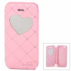 Neomeos Love Heart Mirror Style Protective PU Leather Case w/ Screen Protector for Iphone 5 - Pink