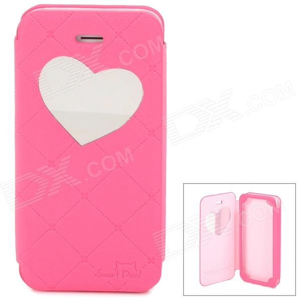 Neomeos Love Heart Mirror Style PU Leather Case w/ Screen Protector for Iphone 5 - Deep Pink love heart w arrow pattern pet dog cloth cotton t shirt deep pink size m