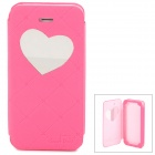 Neomeos Love Heart Mirror Style PU Leather Case w/ Screen Protector for Iphone 5 - Deep Pink