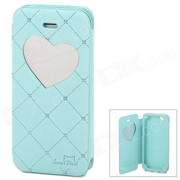 Neomeos Love Heart Mirror Style Protective PU Leather Case w/ Screen Protector for Iphone 5 - Blue nillkin protective matte plastic back case w screen protector for iphone 6 4 7 golden
