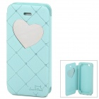 Neomeos Love Heart Mirror Style Protective PU Leather Case w/ Screen Protector for Iphone 5 - Blue