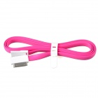 Flat 30-Pin Male to USB 2.0 Male Data Sync / Charging Cable for iPhone 4 / 4S - Deep Pink (120cm)