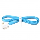 Flat 30-Pin Male to USB 2.0 Male Data Sync / Charging Cable for iPhone 4 / 4S - Blue (120cm)