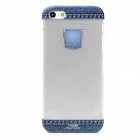 Protective Jeans Pattern Plastic Back Case for iPhone 5 - Blue + Transparent