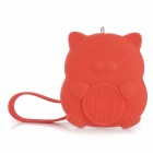 LP32 Cute Cat Style Silicone Women's Key Holder Case w/ Strap - Red