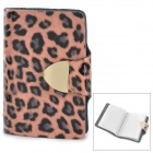 B006 Fashionable Leopard Pattern Women's Cowhide + PVC Card Holder - Pink + Black
