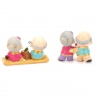 9927 Happy Old Couple Resin Garniture Adornment - Multicolored (2 PCS)