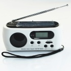 Hand-Cranking Dynamo / Solar Powered Radio w/ 3-LED 15000MCD White Flashlight - White + Black
