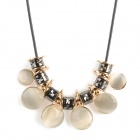 Stylish Round Cat's Eye + Zinc Alloy Pendant Necklace - Golden + Black + White
